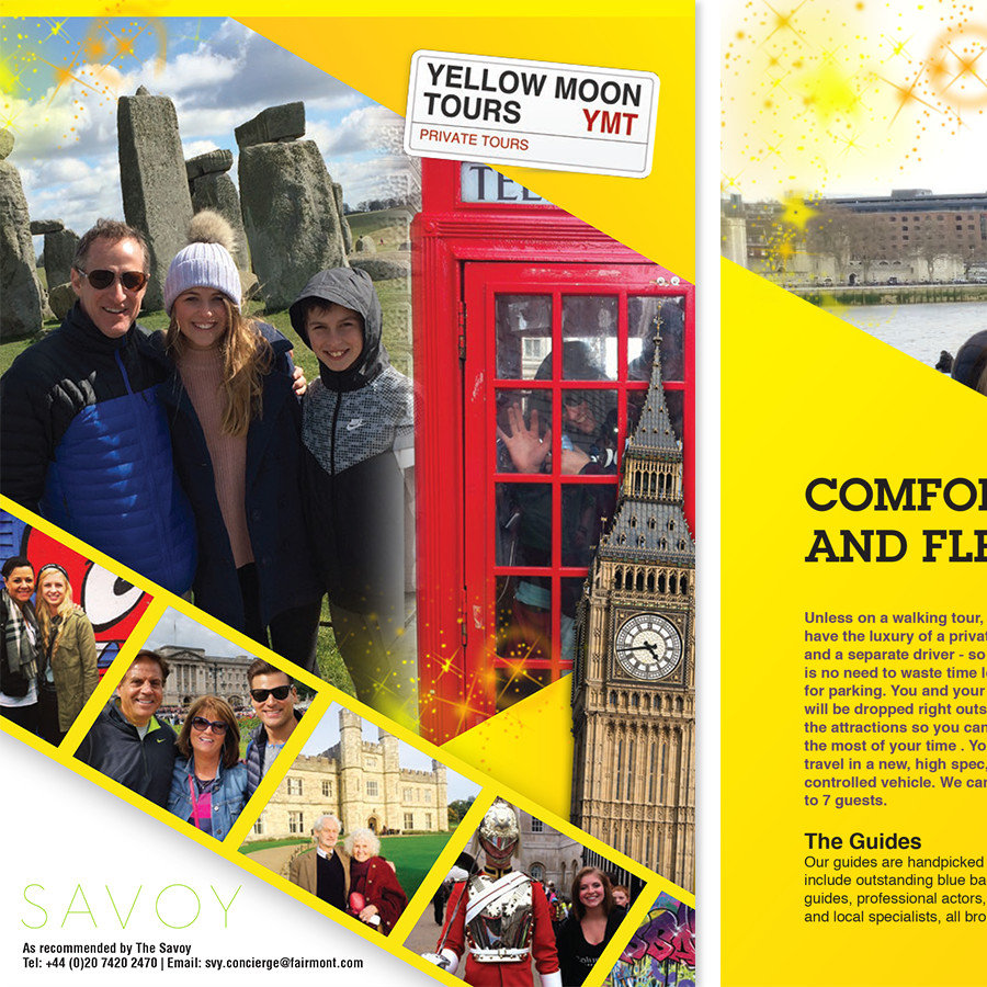Brochure Design front cover - Yellow Moon Tours
