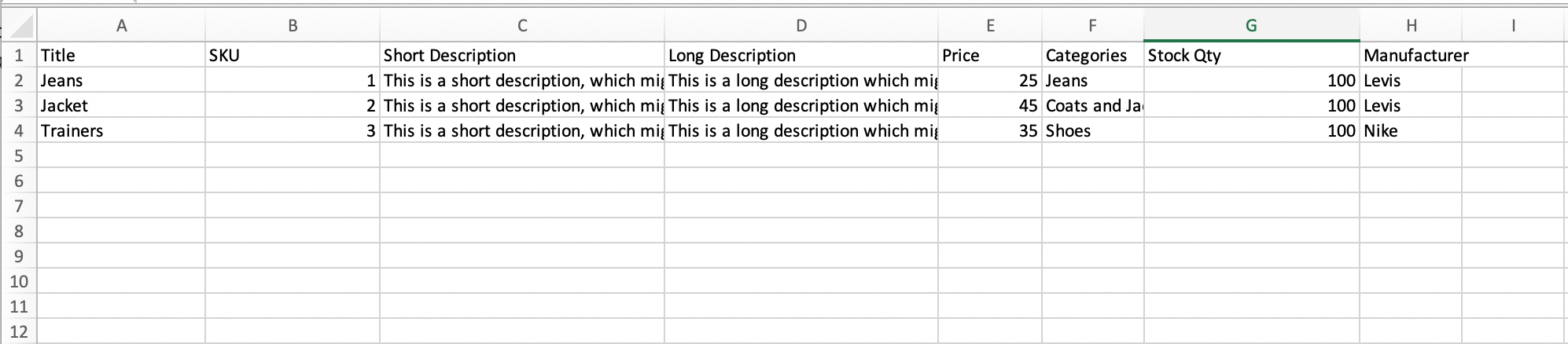 Product data in a spreadsheet